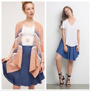 Anthro Tina Jo Chambray Circle Skirt S